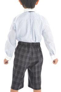 【レンタル】【男の子スーツ】【レンタルスーツ】【卒業式】【結婚式】【入学式】【ジュニアスーツ】【キッズ】【フォーマルスーツ】【ミチコロンドン】グレー白パイピングズボンチェック110cm/120cm/130cm