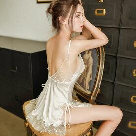 ベビードール NEW 美しい刺繍とレースのサテン キャミソール BD 」 SEXYランジェリー SEXY下着 フリーサイズ ホワイト ポイント消化[[BBr-B-6642]]