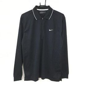 【超美品】NIKE ナイキゴルフ 長袖ポロシャツ 黒×白 ハーフジップ シンプル メンズ L ゴルフウェア