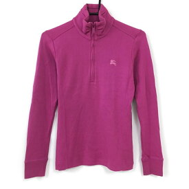 【美品】BURBERRY GOLF バーバリーゴルフ 長袖ハイネックシャツ パープル ハーフジップ 綿混 レディース S ゴルフウェア