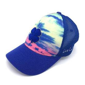 【超美品】BLACK CLOVER ブラッククローバー キャップ ブルー×ピンク 一部メッシュ 空 スカイ 立体ロゴ ゴルフウェア