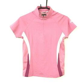 adidas アディダス 半袖ハイネックシャツ ピンク 3ライン ハーフジップ 一部メッシュ レディース S/P ゴルフウェア