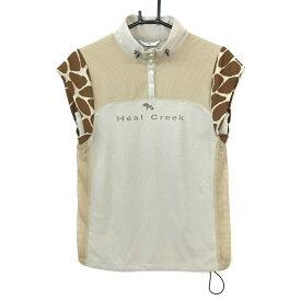 【新品】Heal Creek ヒールクリーク 半袖ハイネックシャツ ベージュ×ブラウン 一部アニマル柄・メッシュ レディース 40[M] ゴルフウェア