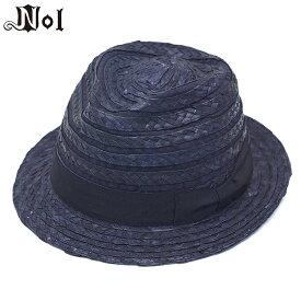 ストローハット メンズ レディース 夏 春 ハット ネイビー 訳あり セール NOL ノル リボン ボーダー ブレード 中折れハット 帽子 大きいサイズ 小さいサイズ おしゃれ
