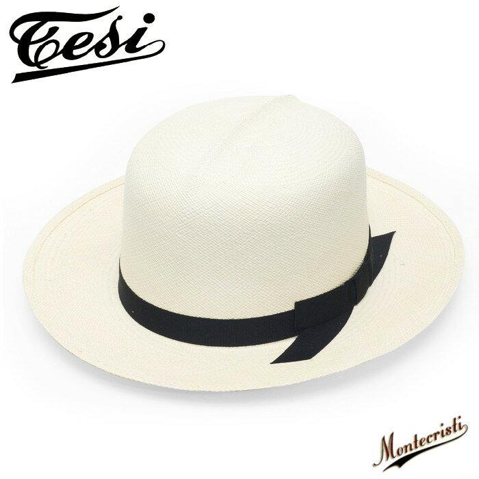 スジ入り オプティモ パナマハット つば広 メンズ 紳士 帽子 ストローハット TESI テシ パナマ帽 ナチュラル ベージュ 春 夏 大きいサイズ 小さいサイズ シンプル 無地 トラッド MONTECRISTI モンテクリスティー 送料無料