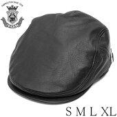 ハンチングレザー本革メンズ帽子EDHATエドハットブラック黒大きいサイズ小さいサイズ日本製牛革