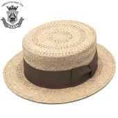 カンカン帽メンズ帽子EDHATエドハットストローハット天然草ベージュ×イエロー春夏紳士帽大きいサイズ