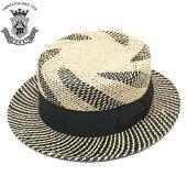 カンカン帽メンズストローハットEDHATエドハットナチュラル×ブラック黒春夏大きいサイズed_6658
