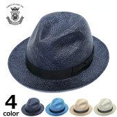 ハットメンズ春夏帽子ストローハット短いつば中折れハットブランドEDHATエドハット麦わら帽子ネイビーブルーベージュグレー大きいサイズ小さいサイズシンプル無地送料無料