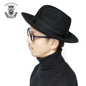 つば広ハットメンズ帽子ハット秋冬中折れ帽子フェルトハット中折れハットブラック黒日本製ブランドEDHATエドハットシンプル無地大きいサイズ小さいサイズギフトつば長いつば広送料無料