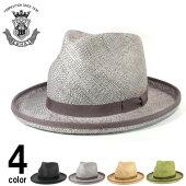 ストローハットメンズ帽子EDHATエドハット天然草ハイクラウンつば広中折れハットブラックグレーベージュグリーン春夏大きいサイズ小さいサイズ
