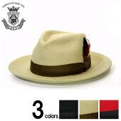 ハットつば広中折れハット帽子メンズEDHATエドハットウールフェルトハットブラックベージュレッドユニセックス大きいサイズ小さいサイズ