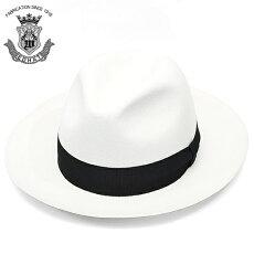 中折れハットメンズつば広ウールフェルトハットEDOHATエドハットホワイト白帽子ハット秋冬日本製大きいサイズ小さいサイズ