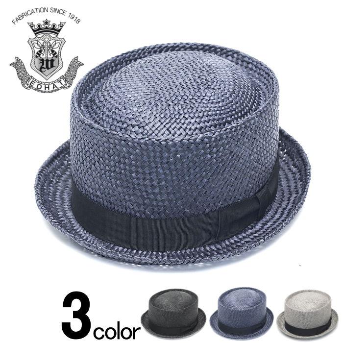 ポークパイハット 春 夏 ストローハット メンズ レディース 帽子 ブラック 黒 ネイビー グレー EDHAT エドハット 大きいサイズ 小さいサイズ ユニセックス シンプル 無地 天然草 日本製 帽子 送料無料