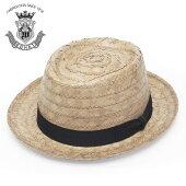 ストローハットポークパイハットメンズレディース春夏つば短い帽子ブランドEDHATエドハットヤシブレードポークパイハット58cm大人ユニセックスシンプル無地日本製天然草送料無料