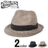 TheREPressionHATリプレッションハットストローハットメンズレディース帽子日本製ブラックブラウン58cm