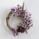 造花咲き誇る野花リースライトラベンダー直径約25〜26cm