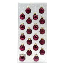 クリスマス飾り ガラスボール 25mm ワインレッド 20個セット(光沢×10、マット×10)【25-2041-87】紫 赤 オーナメント デコレーション