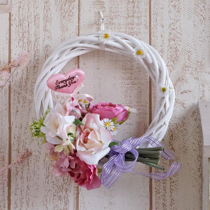 母の日 造花 スイートピンクのブーケリース(ハートのピック付き) 直径約20〜22cm