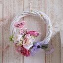 母の日造花スイートピンクのブーケリース(ハートのピック付き)直径約●cm