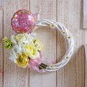 母の日造花フレッシュイエローのブーケリース(バルーンピック付き)直径約20〜23.5cm