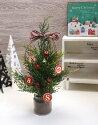 チェックリボンと林檎のミニクリスマスツリーセット(ツリー本体+ハーフ用オーナメント)全長約44cm■送料無料!(北海道・沖縄は550円掛かります)
