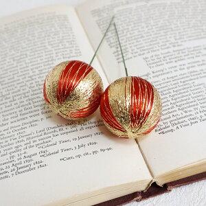 正月飾り 金糸模様入サテンピック レッド 2本 JP240x2 デコレーション パーツ 和風 ボール 赤