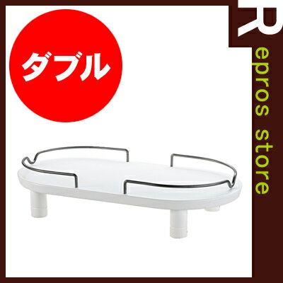 ペット用 木製テーブル ダブル ホワイト リッチェル▼a ペット グッズ ドッグ キャット 食器