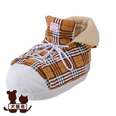 在庫セール △送料無料 シューズクッション チェック ブラウン ボンビアルコン ▼a ペット グッズ 犬 ドッグ 猫 キャット