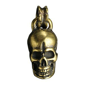 ペンダントトップ 真鍮 スカル バチカン付き ネックレス ドクロ 骸骨 黄銅 ブラスキーホルダー メンズ チャーム チョーカー ペンダントヘッド 鋳物 鋳造