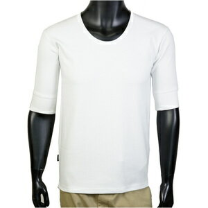 AVIREX 5分袖Tシャツ 無地 デイリー Uネック ワッフル [ ホワイト / Lサイズ ] アヴィレックス アビレックス 6143508 メンズTシャツ ハーフスリーブ