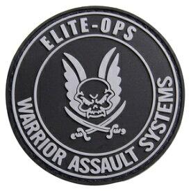 Warrior Assault Systems パッチ 実物 ロゴマーク 丸型 ベルクロ ラバー製 [ ブラック ] ウォーリアーアサルトシステム ミリタリーワッペン ELITE-OPS ミリタリーパッチ アップリケ 記章 ゴム