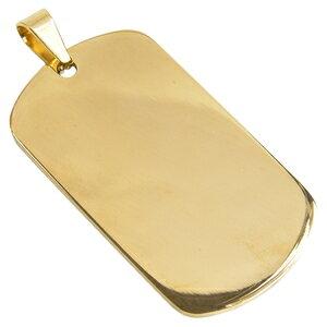 ステンレス製 ドッグタグプレート 5×2.7cm カラー [ ゴールド / ツヤあり ] ドックタグ 認識票 DOG TAG ペンダントトップ つやあり 艶あり つやなし メンズアクセサリー ドッグタグパーツ 識別票