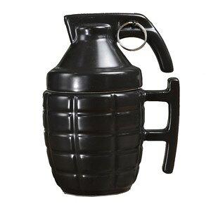 MK2 手榴弾型 マグカップ ふた付 [ ブラック ] ハンドグレネード マーク2 パイナップル コップ コーヒーマグ スタッキングマグ 陶器 セラミック