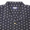 Sum pattern wing-collared shirt (hemp ノ leaf)