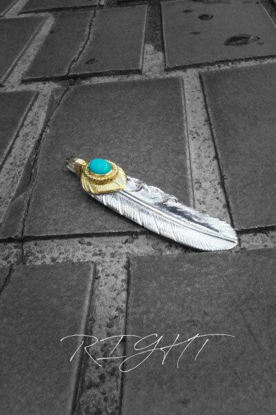TADY&KING タディアンドキング goro's ゴローズ 魂継承 SVフェザーハート k18 金縄 ターコイズ 特大 メンズ レディース フェザー ネックレス ネイティブ アクセサリー tkgh-072