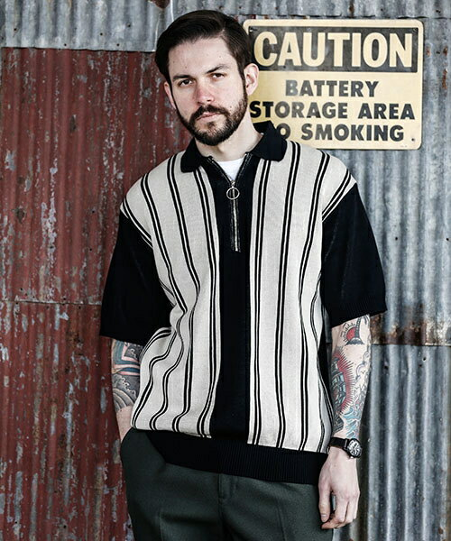 【MROLIVE(ミスターオリーブ)】12G COMA COTTON KNIT -MULTI STRIPE ZIP POLO SHIRT ポロシャツ(M-18209)