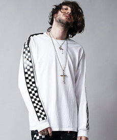 【NO ID.(ノーアイディー)】フラッグチェックゾルプリントロンT Tシャツ(443013-633T)