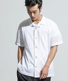 【ANSEASON ANREALAGE】mesh panel patchwork open collar shirt シャツ(19sas126)