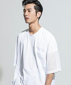 【ANSEASON ANREALAGE】mesh panel patchwork big tee Tシャツ(19sas118)