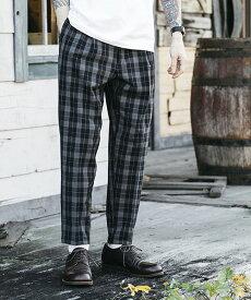 【MROLIVE(ミスターオリーブ)】T-R GLENCHECK STRETCH -ONE PLEATS TAPERED EASY PANTS パンツ(M-19118)