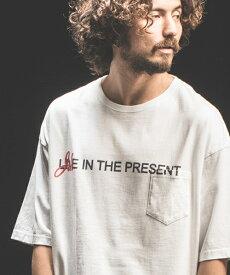 【Jih Nunc(ジーヌンク)】ビッグシルエットプリントTシャツ -LIVE IN THE PRESENT-(STC148)