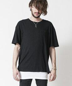 【NO ID.(ノーアイディー)】C天竺レイヤードT Tシャツ(844006-938T)