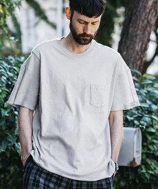 【MROLIVE(ミスターオリーブ)】COMBINATION MATERIAL -ROUND HEM CUT&SEWN Tシャツ(M-19213)