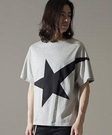 【NO ID.(ノーアイディー)】C天竺ツースタープリントBIG-T Tシャツ(444006-175T)