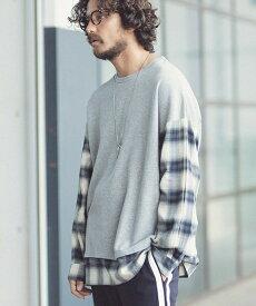 【ANGENEHM(アンゲネーム)】【予約販売10月下旬入荷】Check Shirts Sleeve Over Size URAKE Pullover (MADE IN JAPAN)プルオーバー(ANG-013)