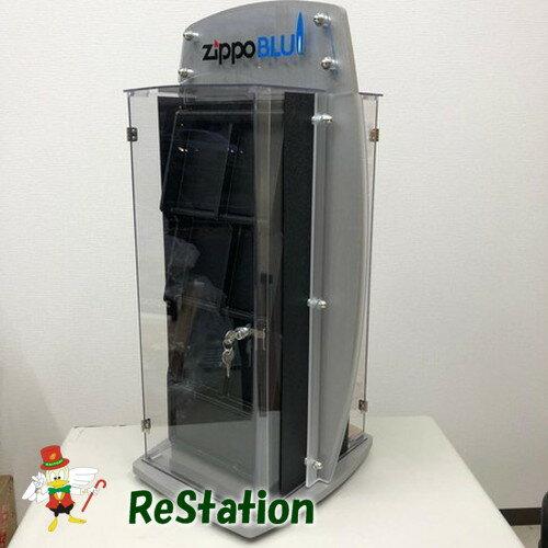 【新品】非売品ZIPPO純正BLUブルーフレームスタンド両面什器 高さ70cm回転式【超レア】