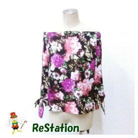 【中古】ドロシーズ レディース 花柄オフショルブラウス 袖リボン 7分袖 ブラック系 サイズ1