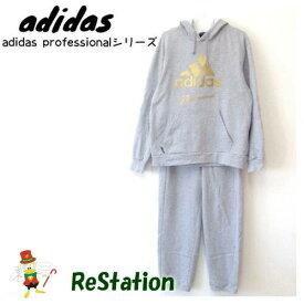 【中古】【送料無料】アディダス adidas Professional Sweat セットアップ ビッグロゴ グレー メンズ サイズL