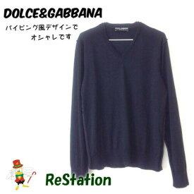 【中古】【送料無料】ドルチェアンドガッバーナ DOLCE&GABBANA 長袖セーター トップス カシミヤ混 ブラック メンズ サイズ48